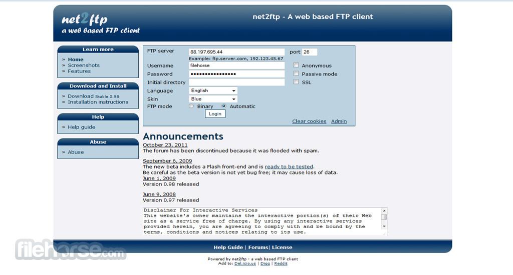 Net2ftp Screenshot 1