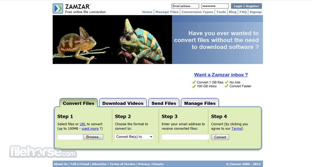 Zamzar Screenshot 1