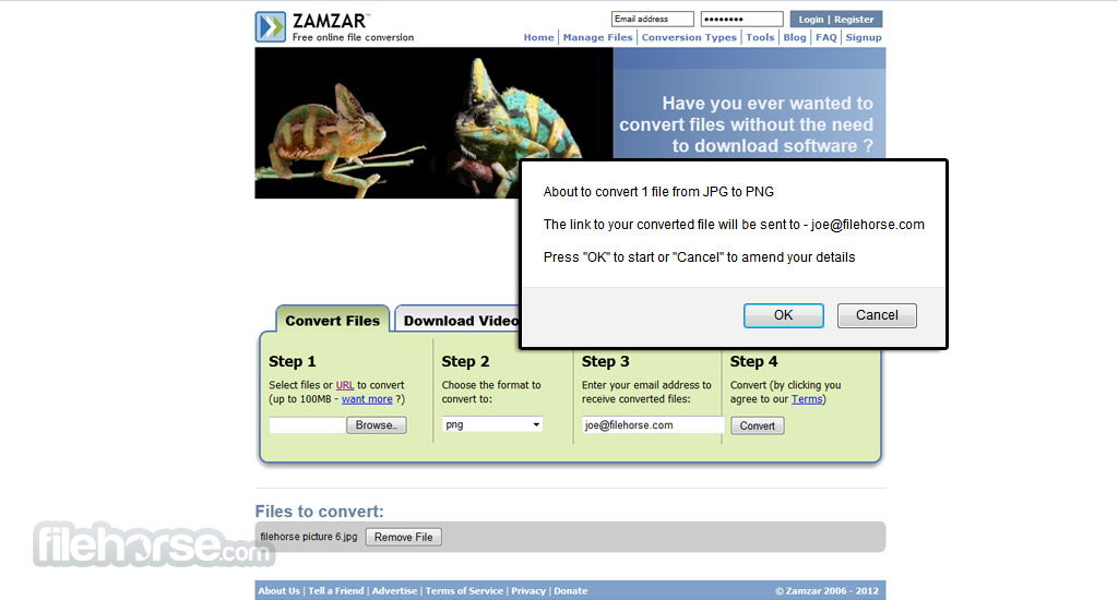 Zamzar Screenshot 2