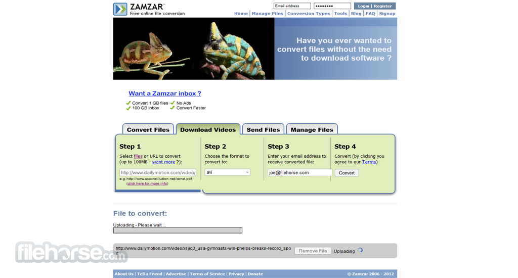 Zamzar Screenshot 3