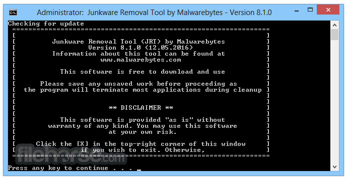 Junkware Removal Tool 8.1.4 Screenshot 1