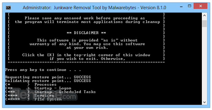 Junkware Removal Tool 8.1.4 Screenshot 2