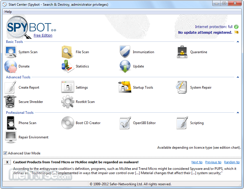 Spybot Search & Destroy 2.7.64 Captura de Pantalla 1