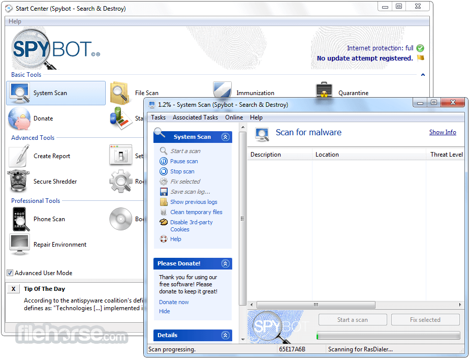 Spybot Search & Destroy 2.7.64 Captura de Pantalla 2