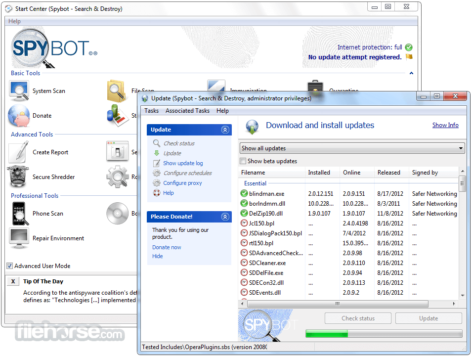 Spybot Search & Destroy 2.7.64 Captura de Pantalla 4