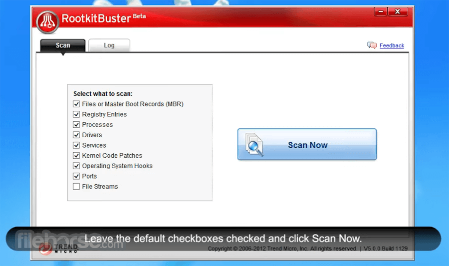 Trend Micro RootkitBuster 5.0.0 Build 1203 Beta (64-bit) Captura de Pantalla 1