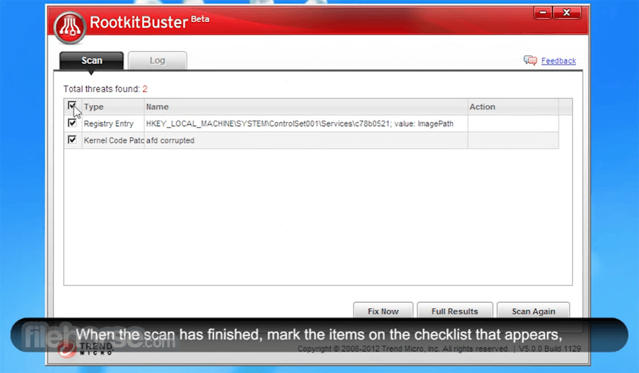 Trend Micro RootkitBuster 5.0.0 Build 1203 Beta (64-bit) Screenshot 3