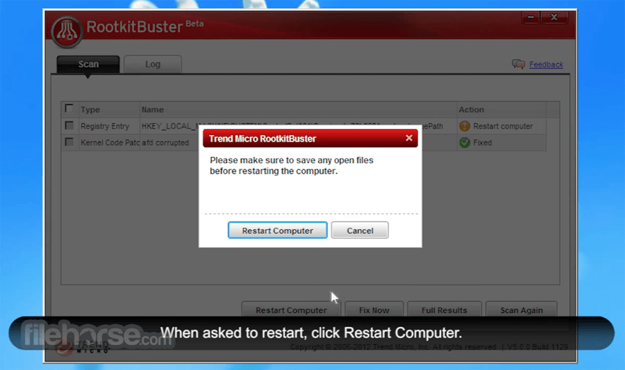 Trend Micro RootkitBuster 5.0.0 Build 1203 Beta (64-bit) Screenshot 4