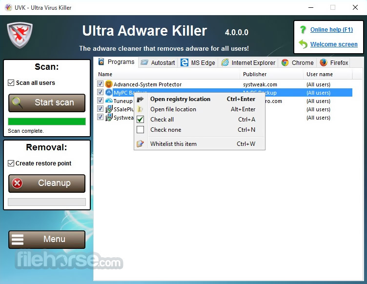 UVK Ultra Virus Killer 10.8.0.0 Captura de Pantalla 2