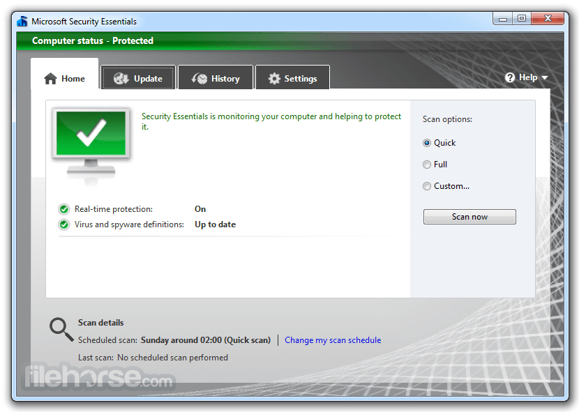 Microsoft Security Essentials 4.10.209 (32-bit) Screenshot 1