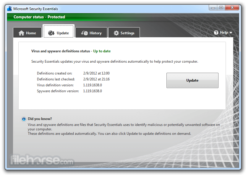 Microsoft Security Essentials 4.10.209 (32-bit) Captura de Pantalla 2
