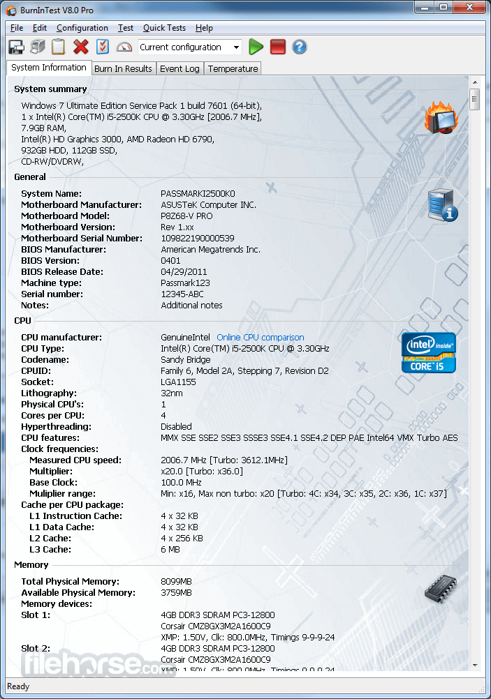Download  BurnInTest Professional for Windows free 2021