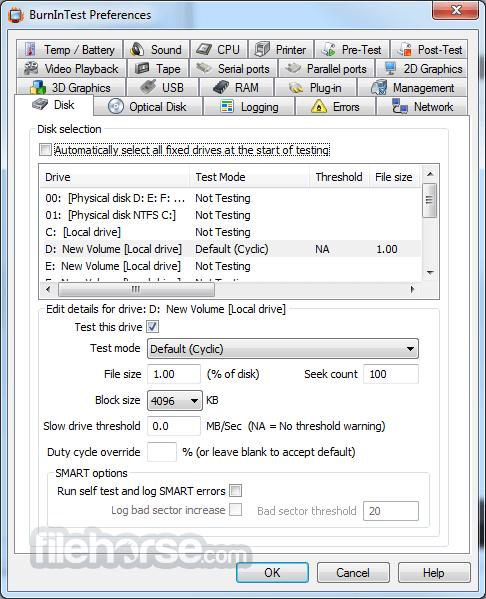 BurnInTest Professional 9.1 Build 1008 Screenshot 5