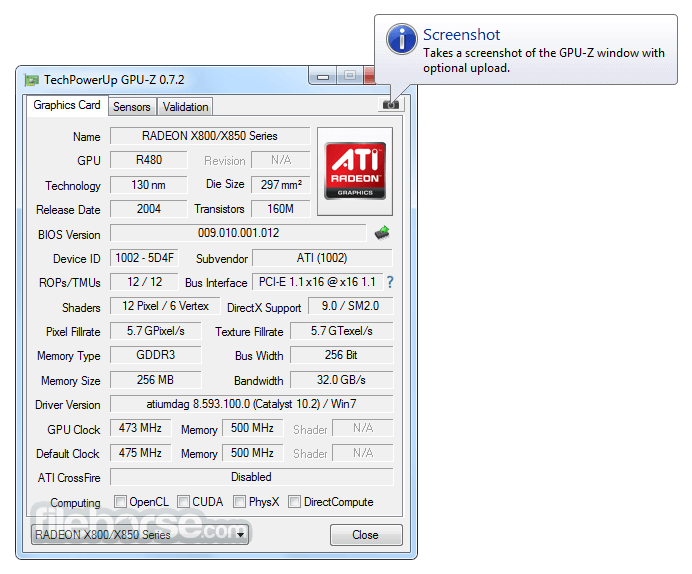 GPU-Z 2.10.0 Captura de Pantalla 2