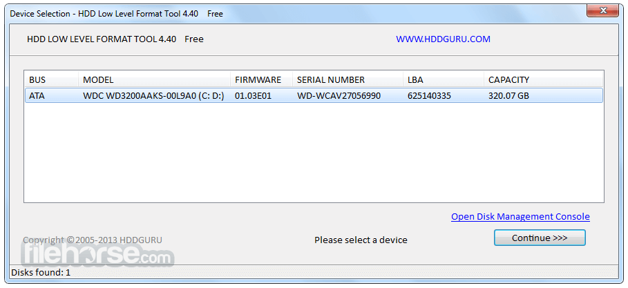 HDD Low Level Format Tool 4.40 Screenshot 1