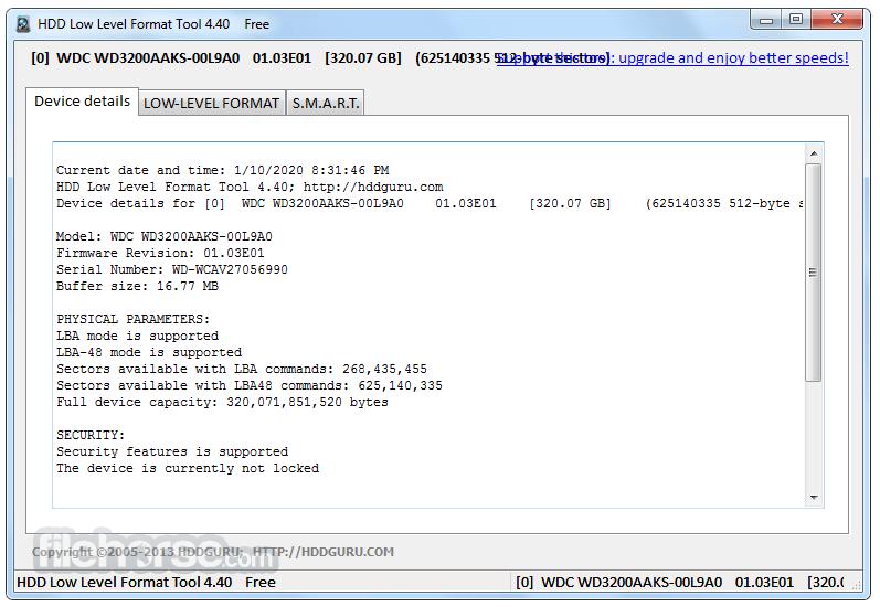 HDD Low Level Format Tool 4.40 Screenshot 2