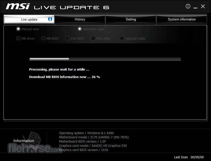 MSI Live Update 6.2.0.74 Captura de Pantalla 2