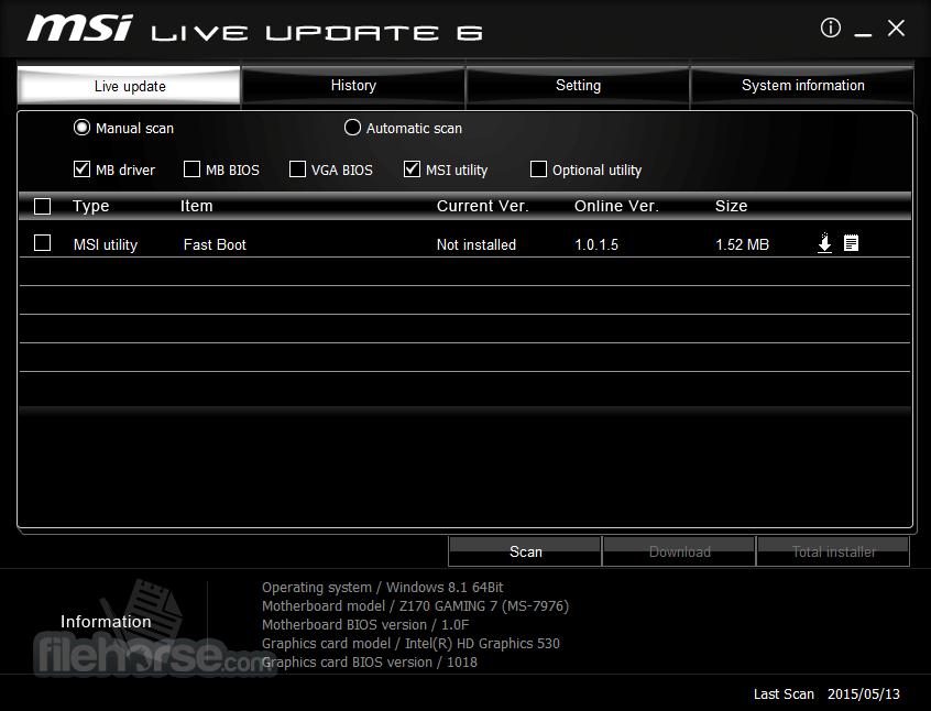 MSI Live Update 6.2.0.74 Captura de Pantalla 3