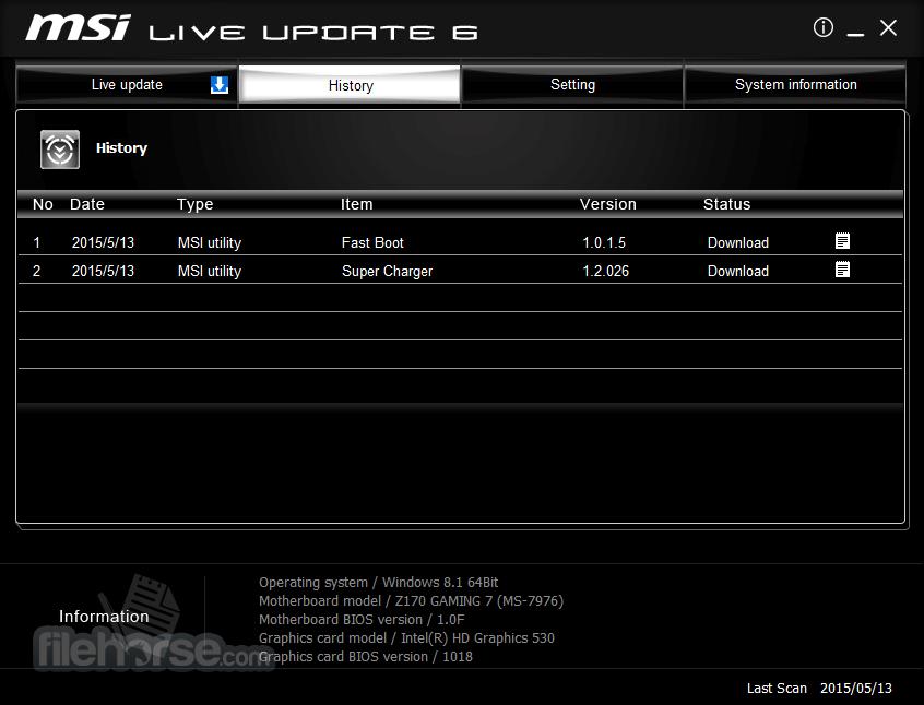 MSI Live Update 6.2.0.74 Captura de Pantalla 4