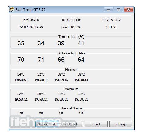 Real Temp 3.70 Screenshot 1