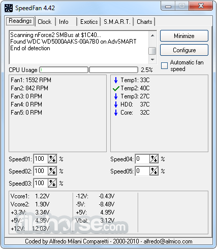 SpeedFan 4.52 Captura de Pantalla 1