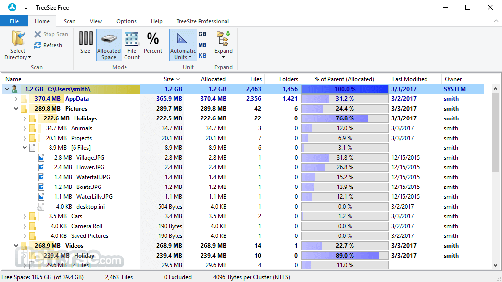 TreeSize Free 4.1.2 Screenshot 2