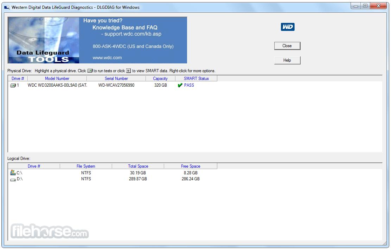 WD Data LifeGuard Diagnostics 1.37 Screenshot 1
