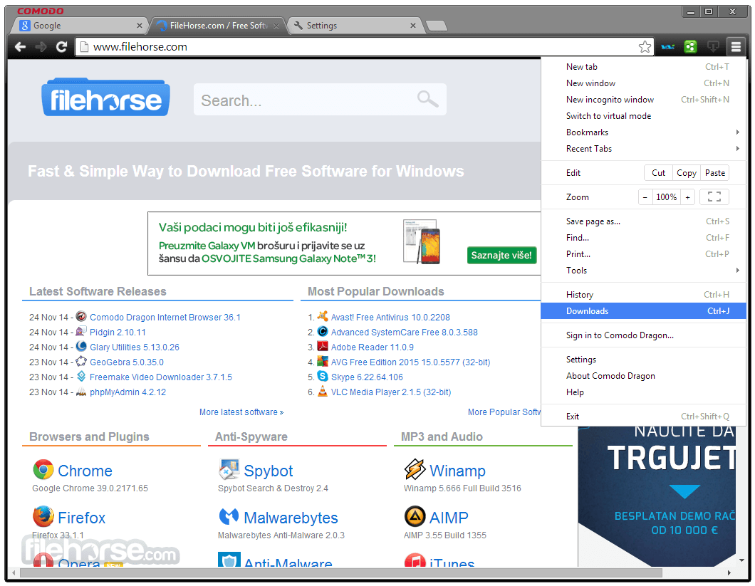 Comodo Dragon Internet Browser 46.9.15.424 Screenshot 1