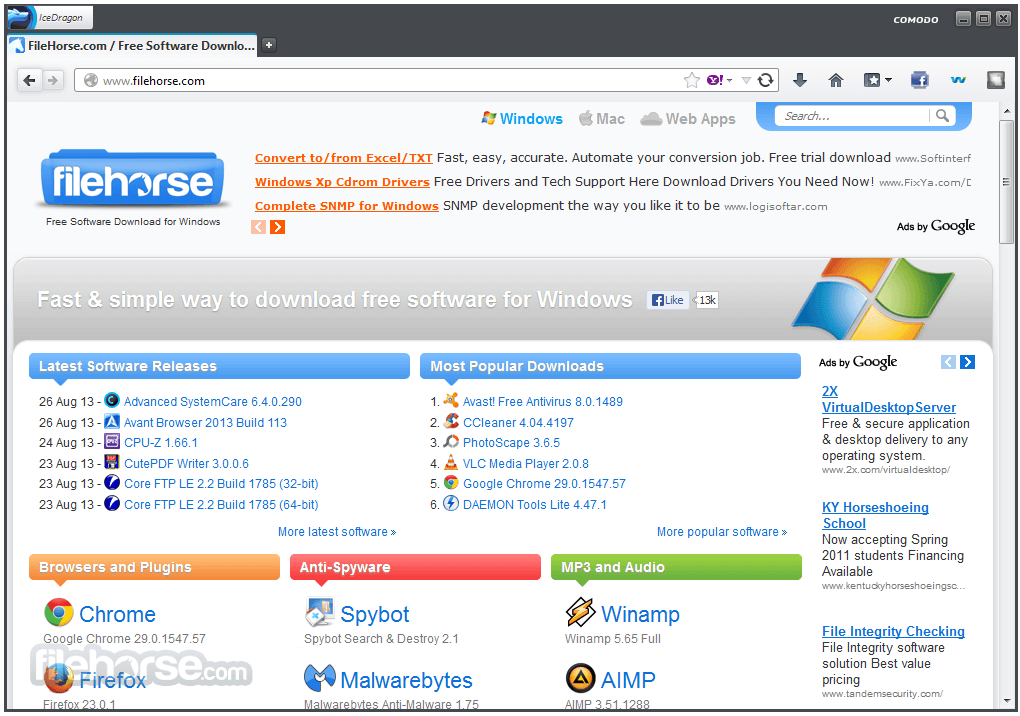 Comodo IceDragon Internet Browser 38.0.5 Screenshot 1