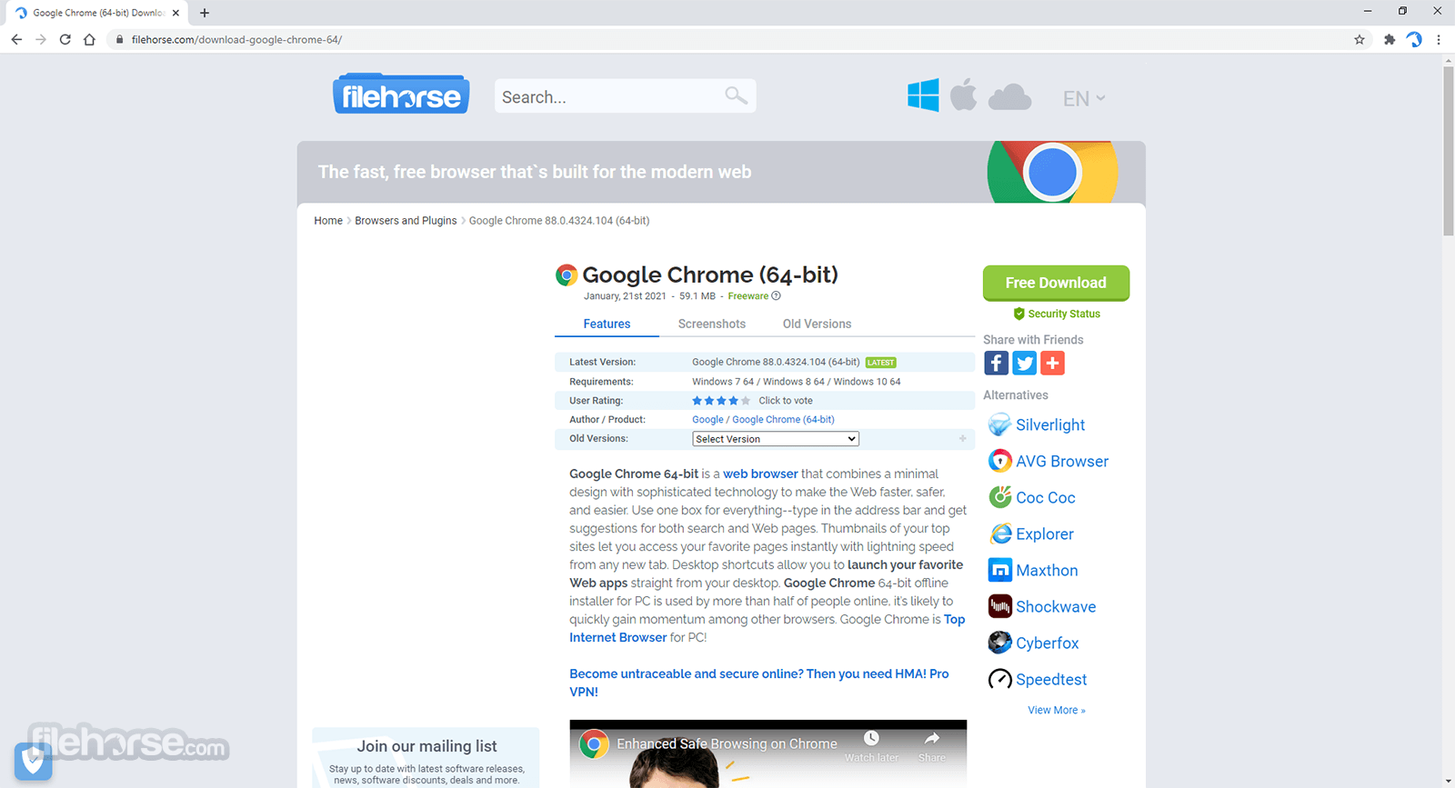 free download google chrome browser for windows 7 64 bit