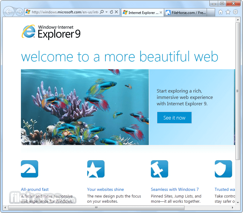 Internet Explorer 9.0 Beta (Windows 7 32-bit) Screenshot 1