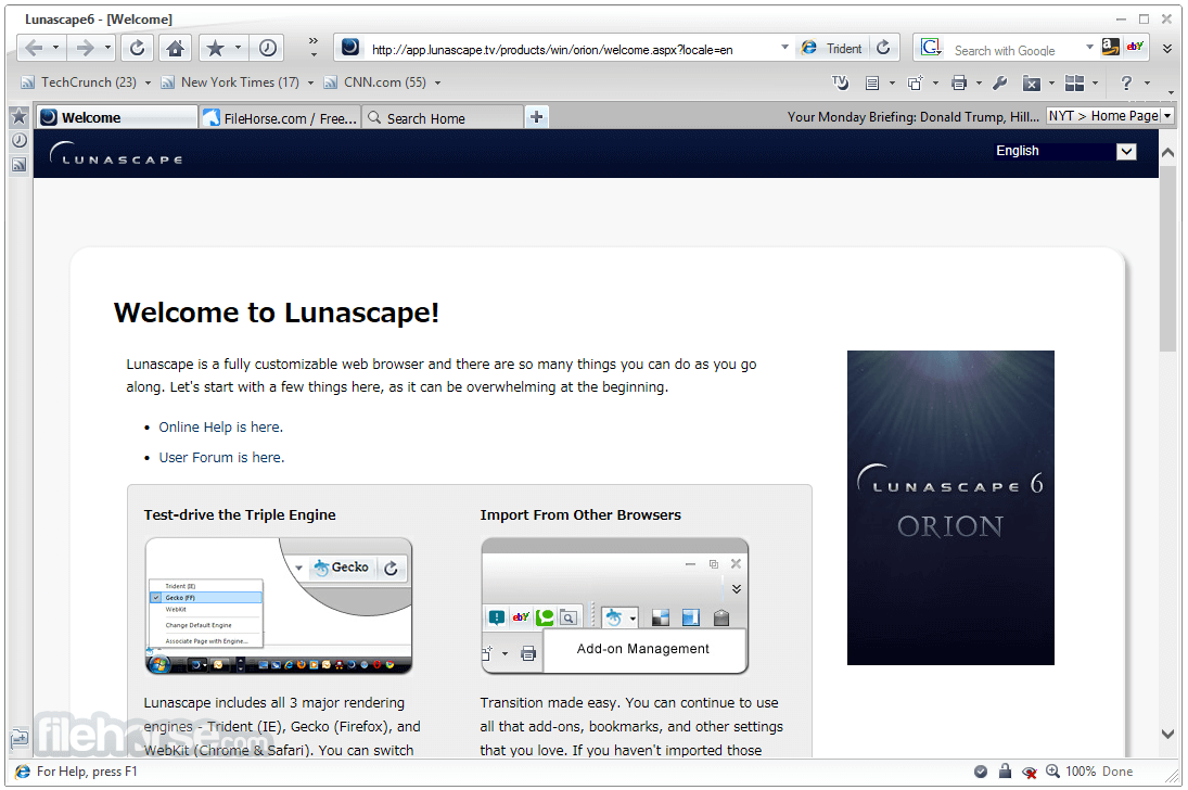 Lunascape Browser 6.15.2.27564 Captura de Pantalla 1