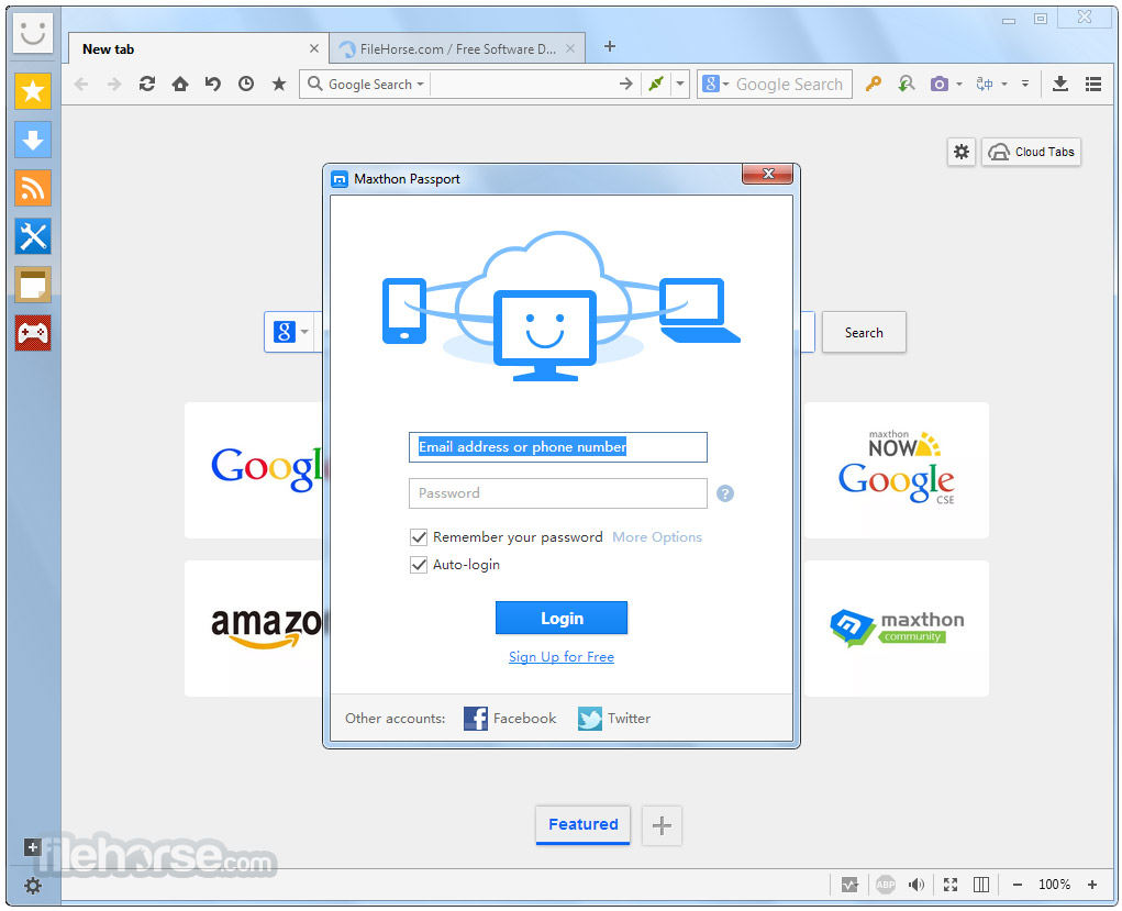 Maxthon Cloud Browser 4.1.2.2000 Captura de Pantalla 1