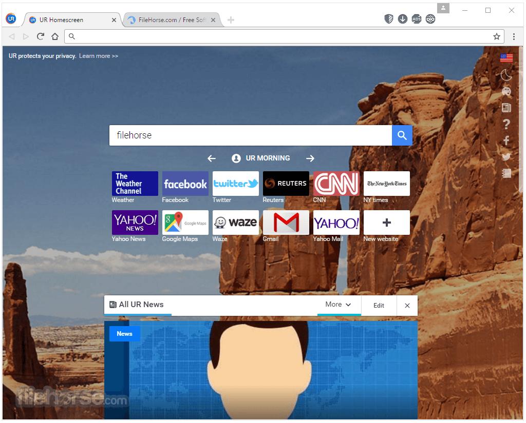 UR Browser 55.1.2883.68 Beta Screenshot 1