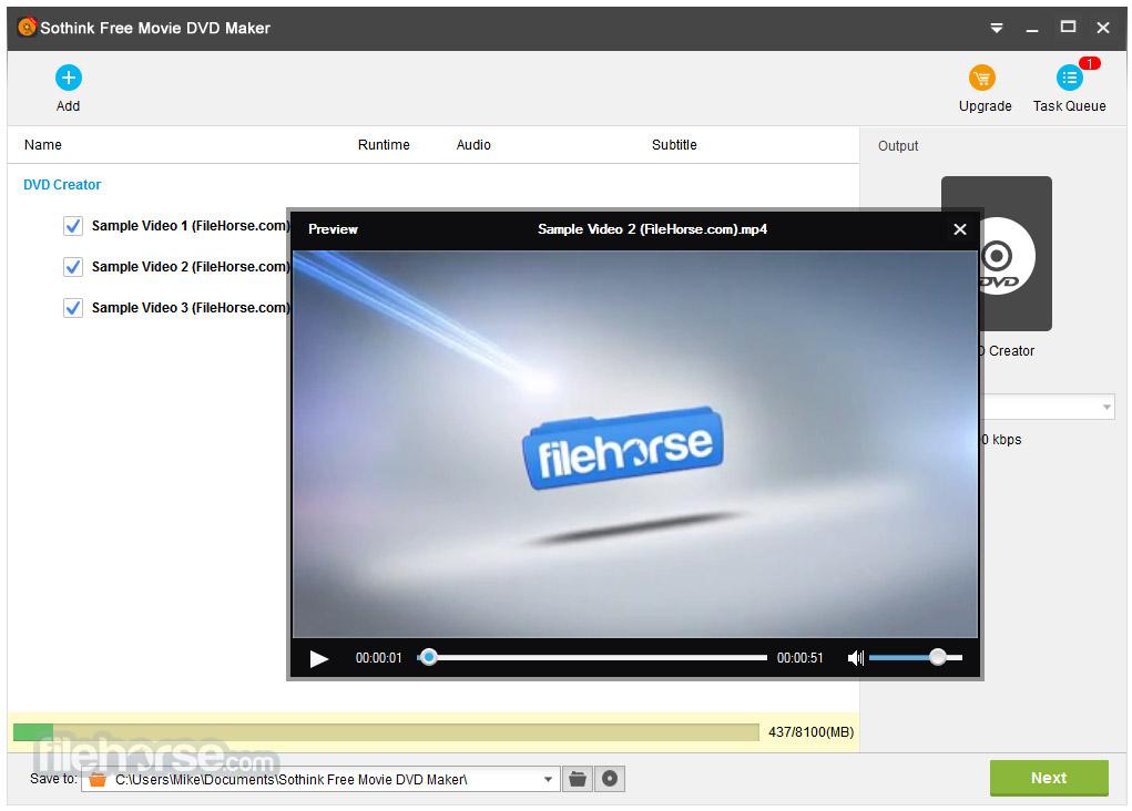 Sothink Free Movie DVD Maker 1.0 Captura de Pantalla 2