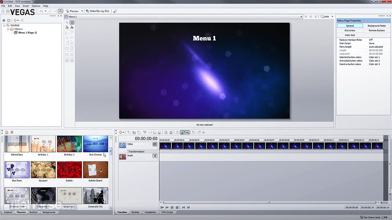 VEGAS DVD Architect 7.0 Build 100 Screenshot 1