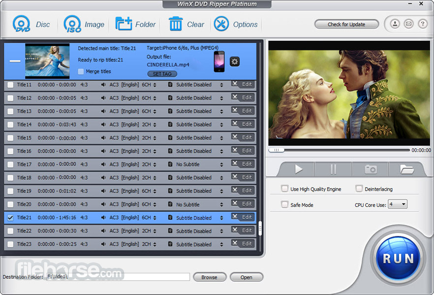 WinX DVD Ripper Platinum 8.8.0 Captura de Pantalla 2