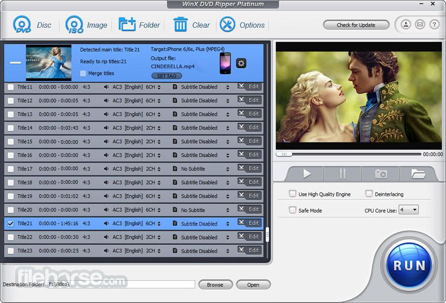 WinX DVD Ripper Platinum 8.7.0 Captura de Pantalla 2