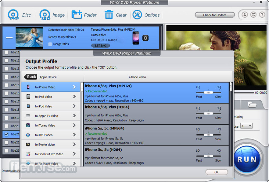 WinX DVD Ripper Platinum 8.8.0 Captura de Pantalla 3