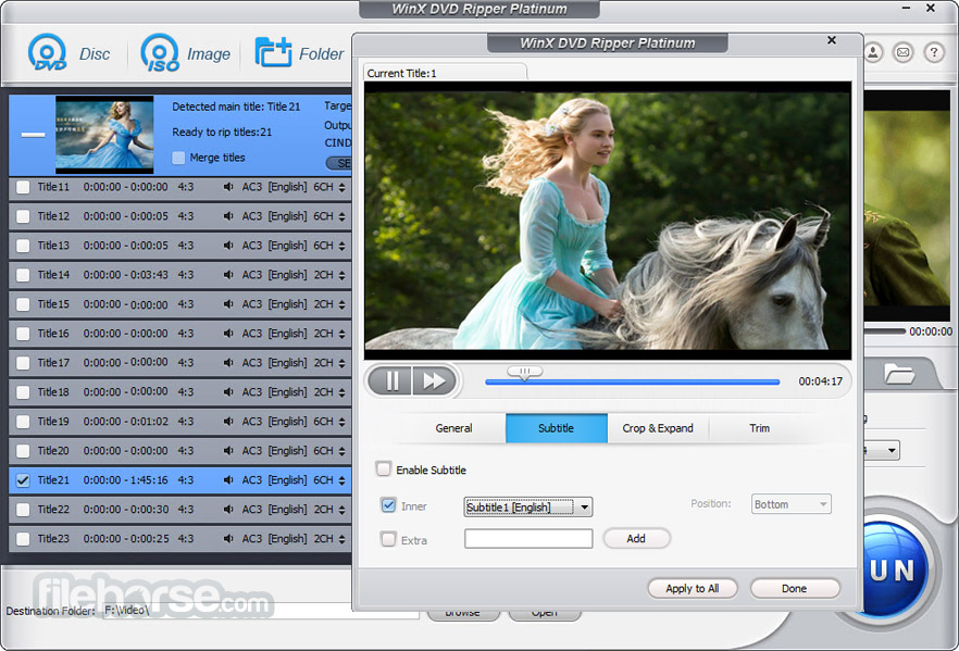 WinX DVD Ripper Platinum 8.8.0 Captura de Pantalla 4
