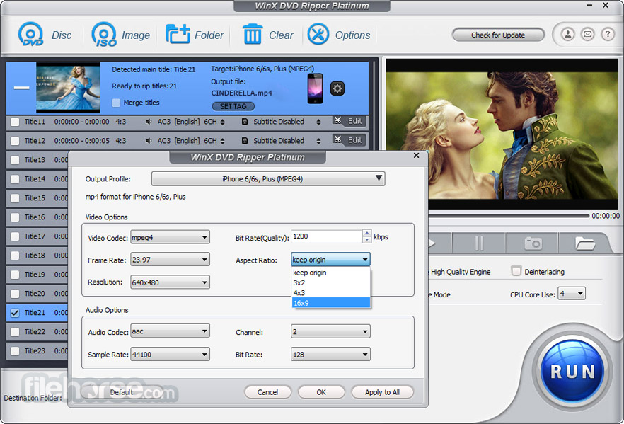 WinX DVD Ripper Platinum 8.8.0 Captura de Pantalla 5