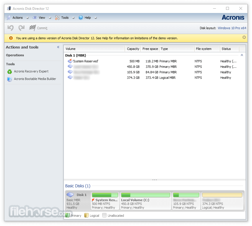 Acronis Disk Director 12 Build 12.5.163 Screenshot 1