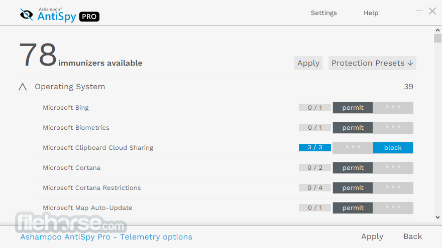 Ashampoo AntiSpy Pro 1.0.3 Screenshot 2