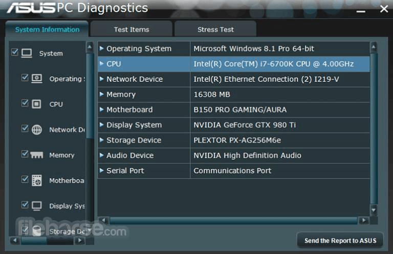 ASUS PC Diagnostics 1.12 Screenshot 1