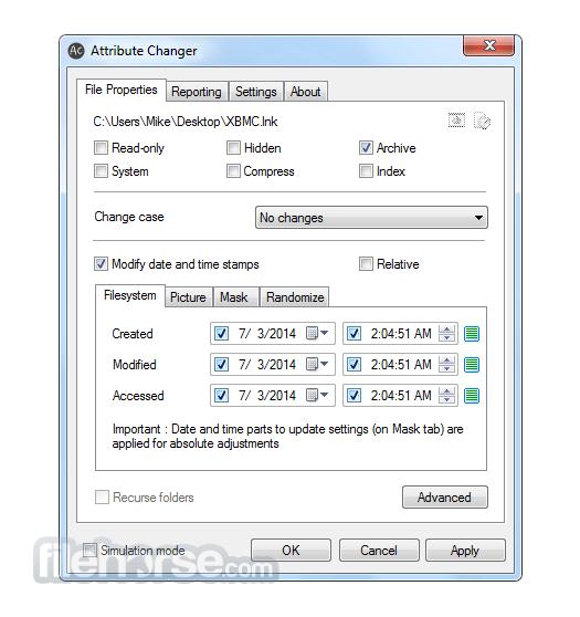 Attribute Changer 9.0a Screenshot 1