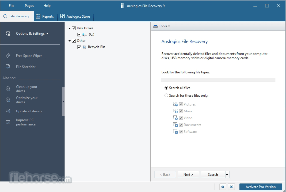 Auslogics File Recovery 8.0.1.0 Screenshot 1