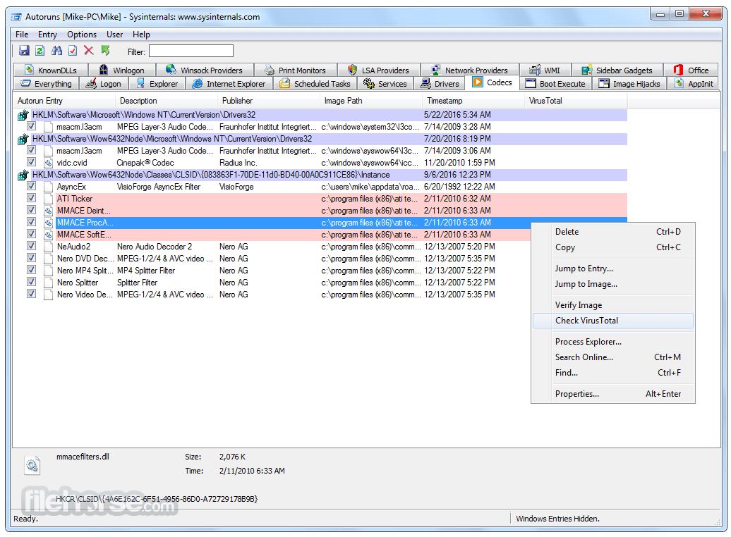 Autoruns 13.98 Screenshot 3