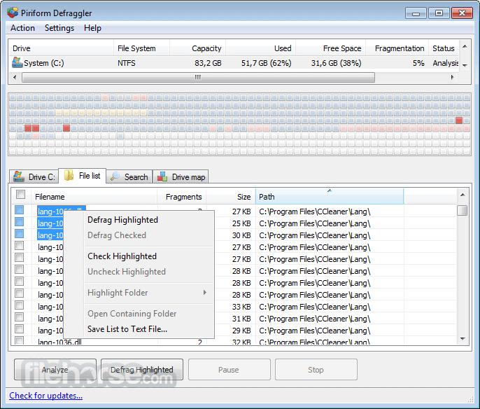 Defraggler 2.21.993 Screenshot 5