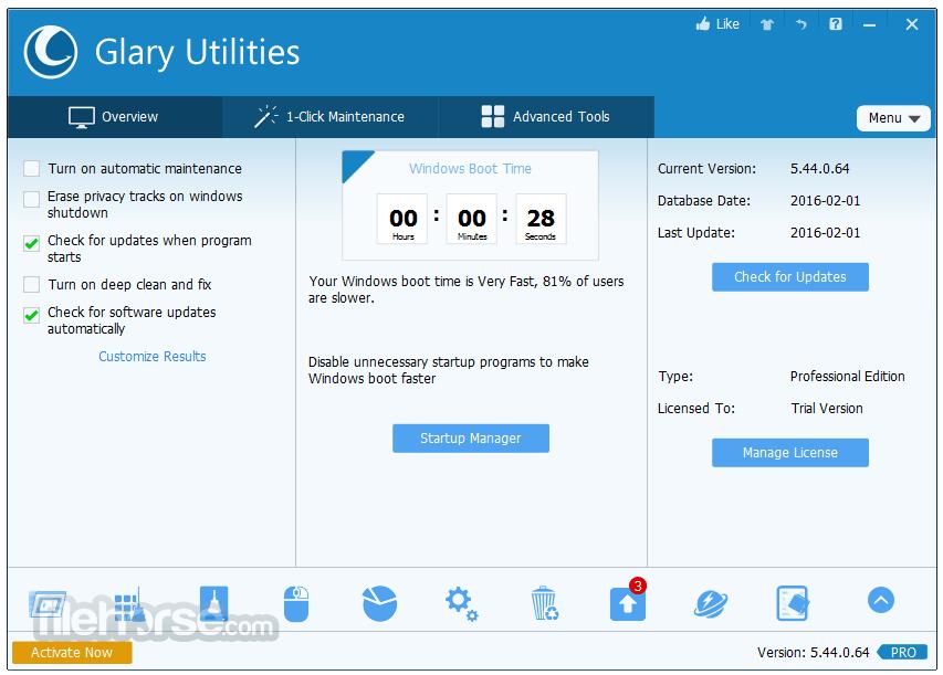 Glary Utilities Pro 5.161.0.187 Captura de Pantalla 1