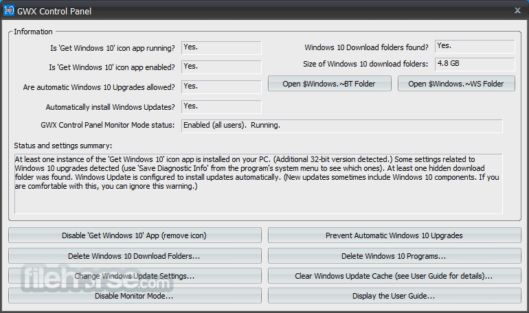 GWX Control Panel 1.7.4.1 Captura de Pantalla 1